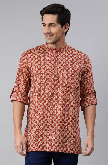 Janasya | Janasya Men's Red Cotton Kurta