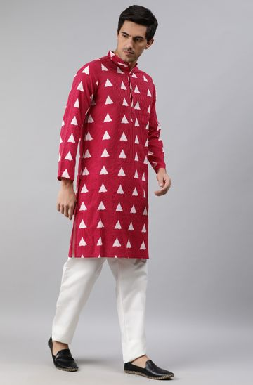 Janasya | Janasya Men's Maroon Cotton Kurta