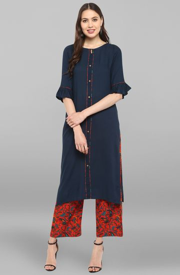 Janasya | Janasya Women's Navy Blue Rayon Kurta With Palazzo