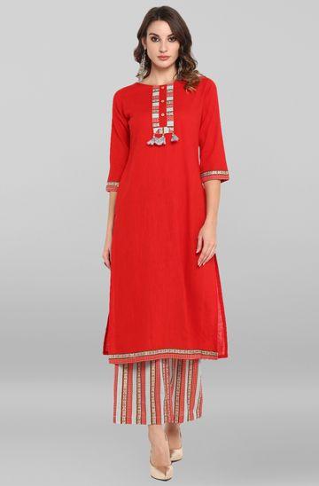 Janasya | Janasya Women's Red  Rayon Kurta With Palazzo