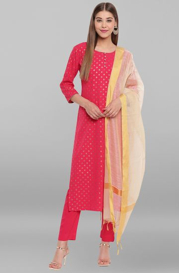 Janasya | Janasya Women's Pink Poly Crepe Kurta With Pant And Dupatta