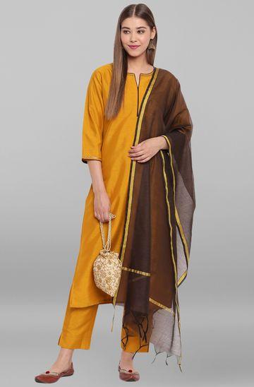 Janasya | Janasya Women's Mustard Poly Silk Kurta With Pant And Dupatta