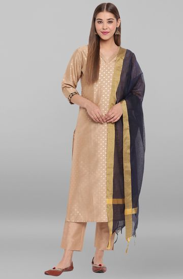 Janasya | Janasya Women's Beige Poly Silk Kurta With Pant And Dupatta