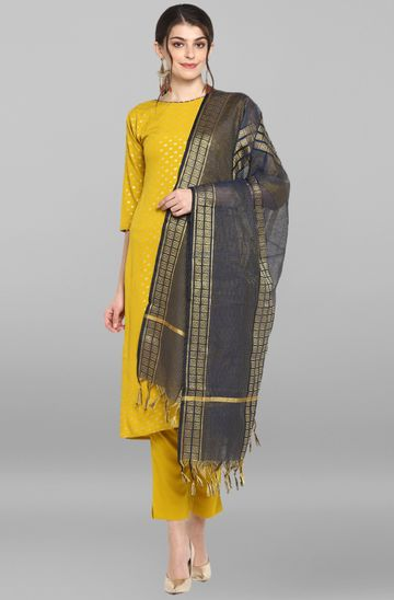 Janasya | Janasya Women's Mustard Poly Crepe Kurta With Pant And Dupatta