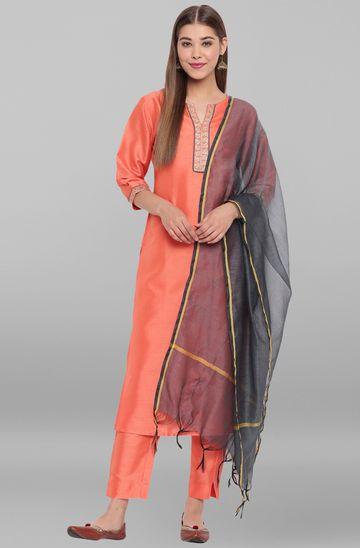 Janasya | Janasya Women's Peach Poly Silk Kurta With Pant And Dupatta