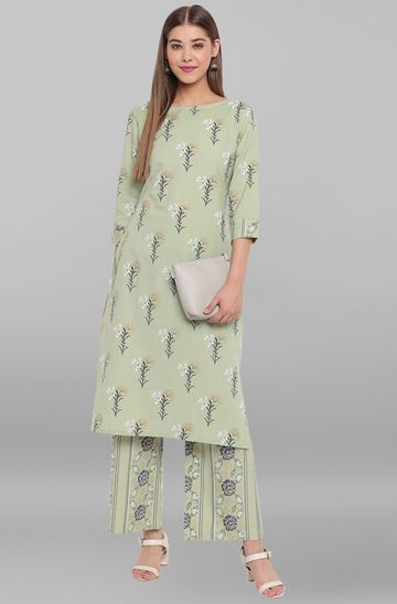 Janasya | Janasya Women's Light Green Cotton Flex Kurta With Palazzo