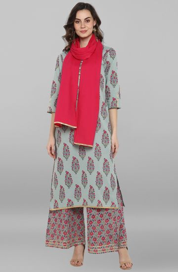 Janasya | Janasya Women's Turquoise Green Cotton Kurta With Palazzo And Dupatta