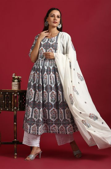 Janasya | Janasya Women's White Cotton Kurta With Palazzo And Dupatta