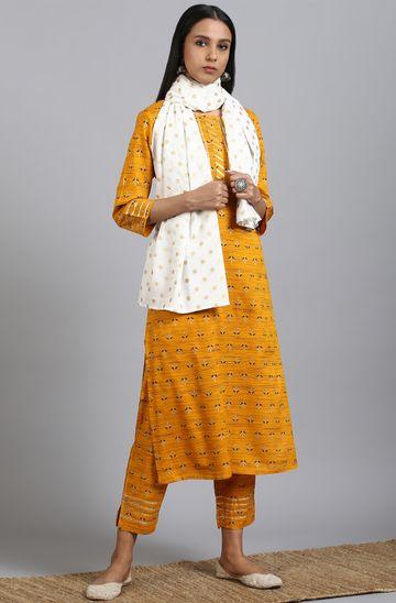 Janasya | Janasya Women's Mustard Rayon Kurta With Pant And Dupatta