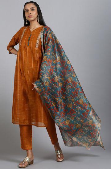 Janasya | Janasya Women's Rust Art Silk Kurta With Pant And Dupatta