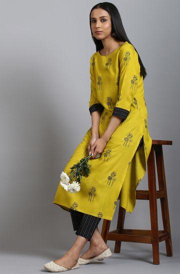 Janasya | Janasya Women's Mustard Rayon Kurta With Pant