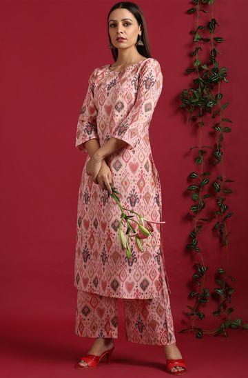 Janasya | Janasya Women's Pink Cotton Kurta With Palazzo