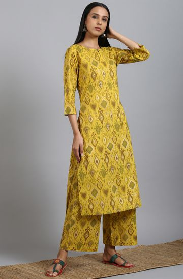 Janasya | Janasya Women's Yellow Cotton Kurta With Palazzo