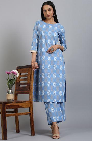 Janasya | Janasya Women's Blue Cotton Kurta With Palazzo