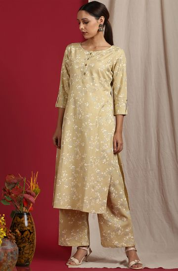 Janasya | Janasya Women's Cream Cotton Flex Kurta With Palazzo