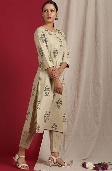 Janasya | Janasya Women's Beige Cotton Kurta With Pant