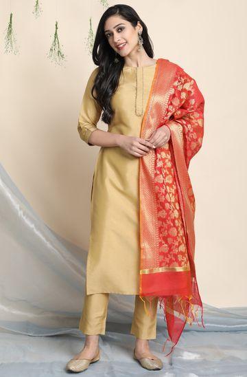 Janasya | Janasya Women's Gold Poly Silk Kurta With Pant And Dupatta