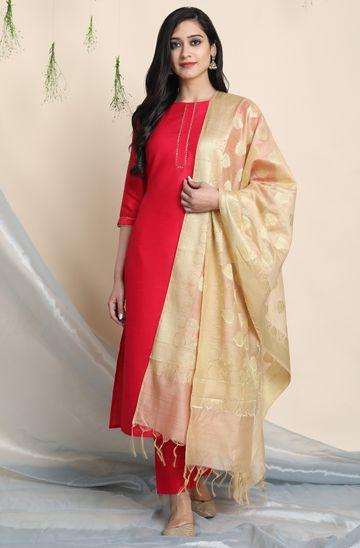 Janasya | Janasya Women's Pink Poly Silk Kurta With Pant and Dupatta