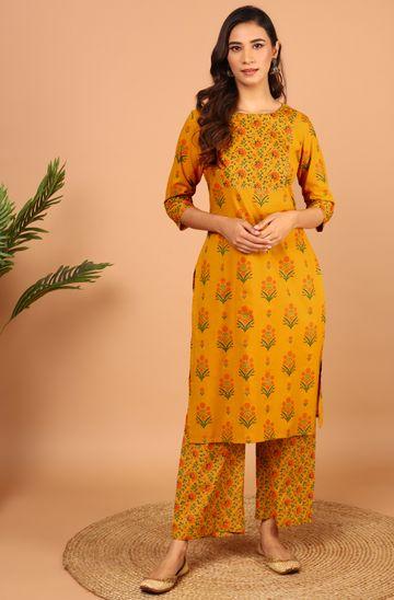 Janasya | Janasya Women's Mustard Cotton Kurta With Palazzo