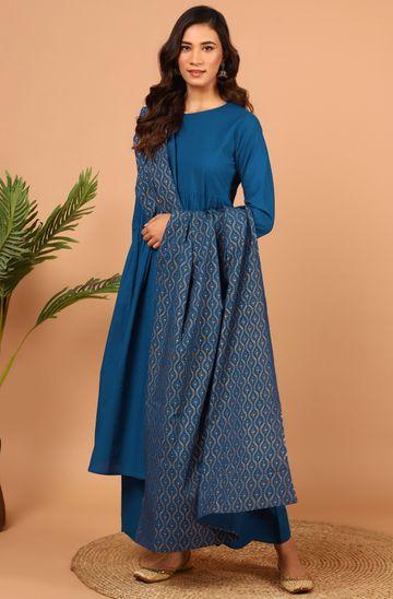 Janasya | Janasya Women's Blue Cotton Kurta With Palazzo And Dupatta