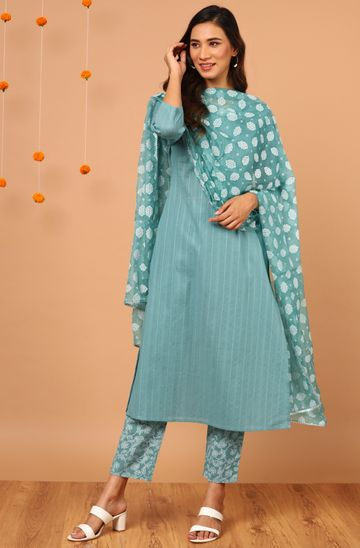 Janasya | Janasya Women's Turquoise Cotton Kurta With Pant And Dupatta