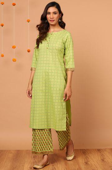 Janasya   Janasya Women's Green Cotton Kurta With Palazzo