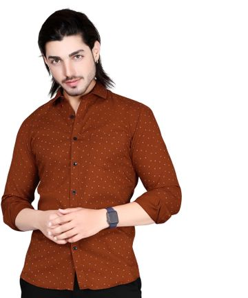 5th Anfold | Fifth Anfold Mens Polka Printed Casual Pure Cotton Full Sleev Rust Shirt