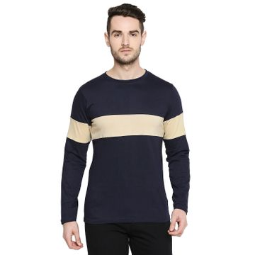 Jhankhi | Jhankhi Men Cotton Dark Blue T shirt