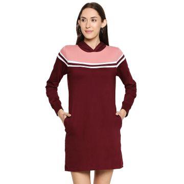 Jhankhi | Jhankhi Cotton Maroon Hodded Dress