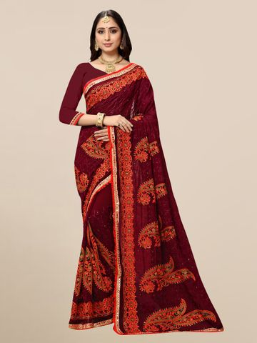 SATIMA | Designer Maroon Georgette Self-Design Embroidered Saree