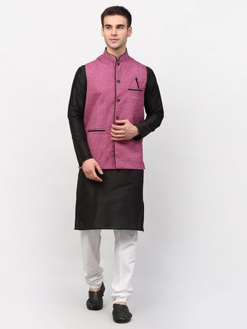 Jompers   Jompers® Men's Black Solid Kurta with Churidar & Nehru Jacket
