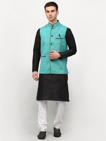 Jompers | Jompers® Men's Black Solid Kurta with Churidar & Nehru Jacket