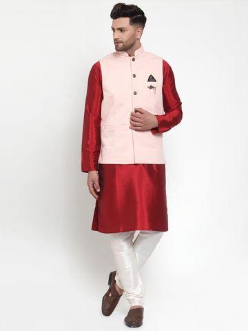 Jompers | Jompers® Men's Solid Dupion Kurta Pajama with Woven Nehru Jacket