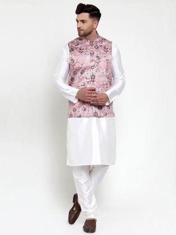 Jompers | Jompers® Men's Solid Dupion Kurta Pajama with Printed Nehru Jacket