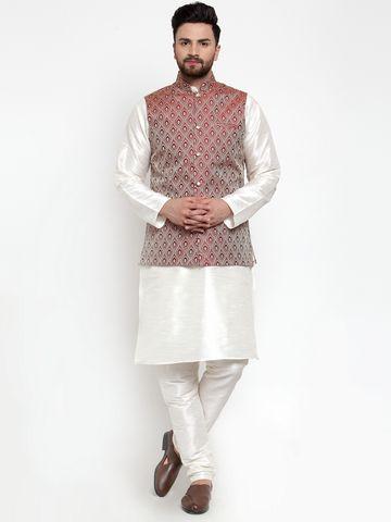 Jompers | Jompers® Men's Solid Dupion Kurta Pajama with Woven Jacquard Waistcoat
