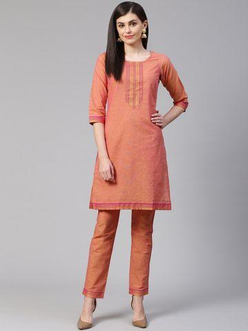 Jompers   Jompers® Women Pink Pure Cotton Kurta with pants set