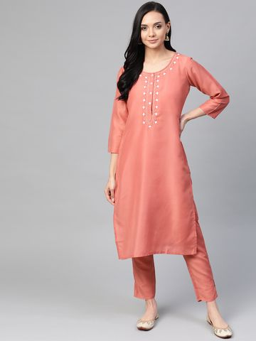 Jompers   Jompers® Women Pink Cotton Silk Embroidered Kurta with pants  set