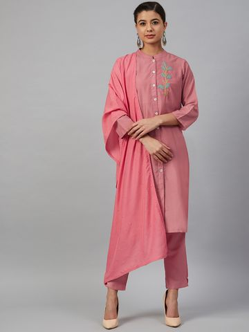 Jompers   Jompers® Women Pink Cotton Silk Embroidered Kurta with pants and dupatta  set