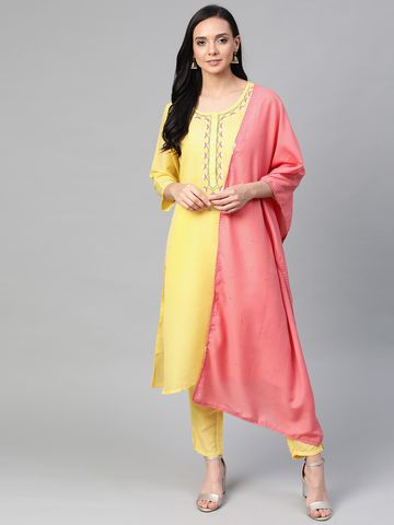 Jompers | Jompers® Women Yellow Cotton Silk Embroidered Kurta with pants and dupatta set
