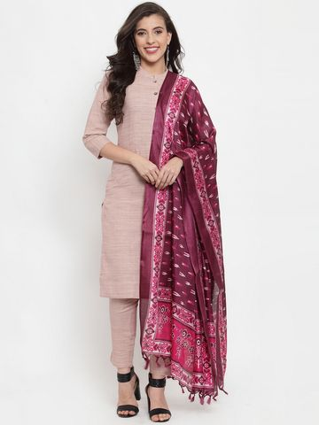 Jompers   Jompers® Women Pink Cotton Kurta with pants and printed dupatta set