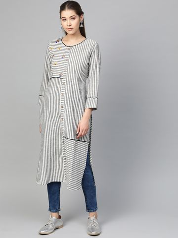 Jompers | JompersWomen Striped Pure Cotton Straight Kurta
