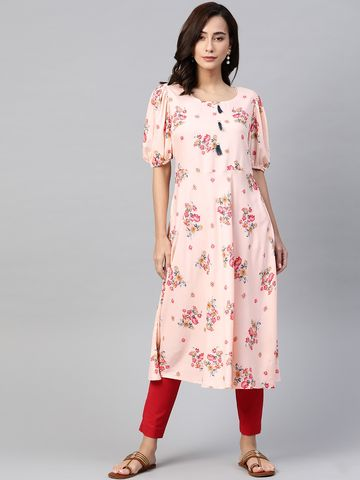 Jompers | Jompers flared floral Print kurta with puff sleeves