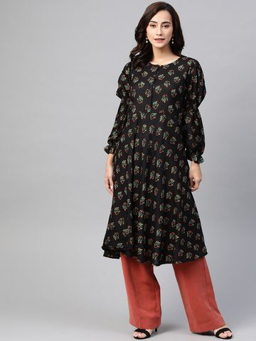 Jompers | Jompers flared Rayon floral Print kurta with puff sleeves