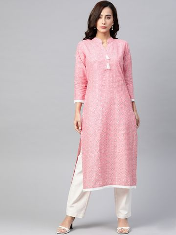 Jompers | Jompers Women Cotton Kurta with Lace at border