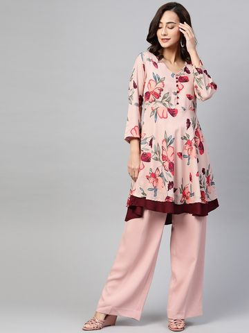 Jompers | Jompers Women Peach floral print flared kurta