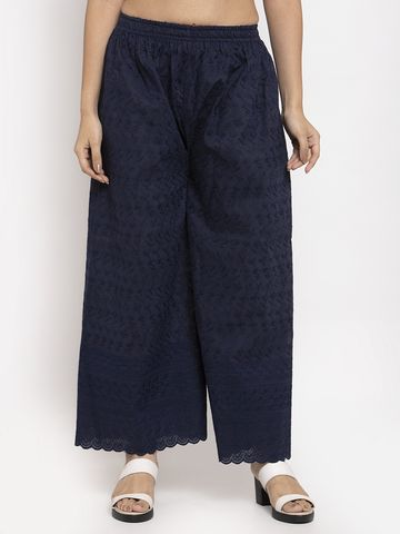 Jompers | Jompers Women Navy Blue Embroidered Wide Leg Palazzos