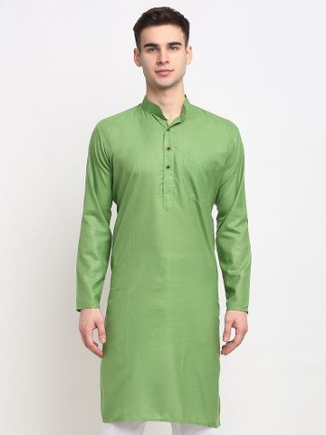 Jompers | Jompers® Men Parrot Green & White Solid Kurta