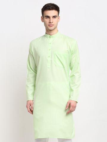 Jompers | Jompers® Men Lime Green & White Solid Kurta