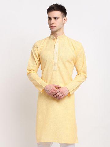 Jompers | Jompers® Men Yellow Self Design Kurta