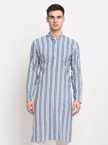 Jompers | Jompers® Men Blue & White Striped Cotton Kurta